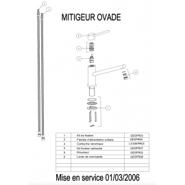 Mitigeur OVADE 063880 - Piéces détachées