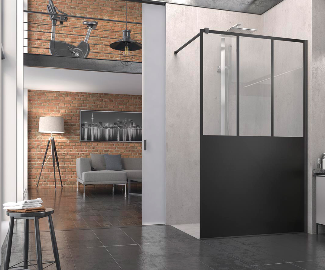 paroi de douche atelier fixe l 80 sans retour avec barre sanswiss cyber confort. Black Bedroom Furniture Sets. Home Design Ideas