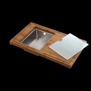 détails Planche complète en Bambou avec passoire vide-sauce inox