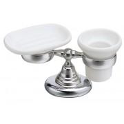 détails Ensemble Porte-savon et gobelet en céramique MUSEO rétro