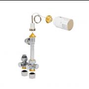 détails Vanne radiateur en H avec tête manuelle ou thermostatique