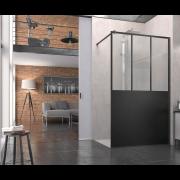 détails Paroi de douche Atelier fixe L 80 sans retour  avec barre SanSwiss