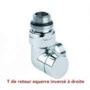 "T de retour Corner Chrome/Satin MM 1/2"" 3/4"" EK Droite"